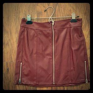 Leather Mini Skirt- Burgandy